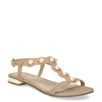 Złote sandały zperełkami bata, złoty, 569-5606 - 13