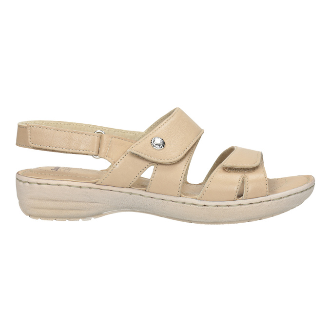 Beżowe skórzane sandały damskie na rzepy, beżowy, 566-8634 - 16