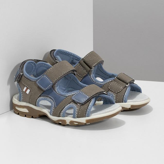 Szaro-błękitne sandały chłopięce zzapięciami na rzepy mini-b, brązowy, 261-3608 - 26