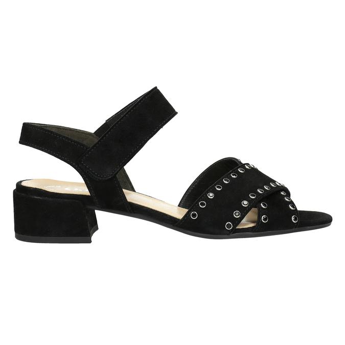 Skórzane sandały na niskich obcasach, zkryształkami gabor, czarny, 663-6005 - 26