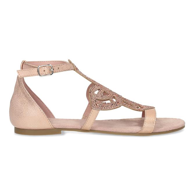 Sandały damskie wkolorze starego różu, ozdobione kryształkami bata, różowy, 561-5614 - 19