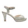 Srebrne perforowane sandały damskie na obcasach insolia, srebrny, 761-8618 - 16