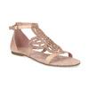 Sandały damskie wkolorze starego różu, ozdobione kryształkami bata, różowy, 561-5614 - 13