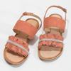 Różowe skórzane sandały damskie zperełkami bata, różowy, 566-5632 - 16
