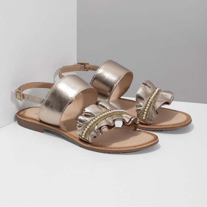 Złote skórzane sandały zperełkami bata, złoty, 566-8632 - 26