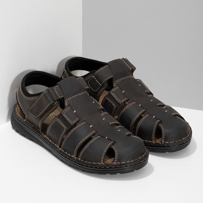 Brązowe skórzane sandały męskie zpełnymi noskami bata, brązowy, 866-4616 - 26