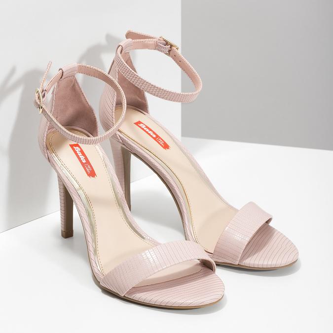 Różowe sandały na szpilkach, różowy, 661-5610 - 26