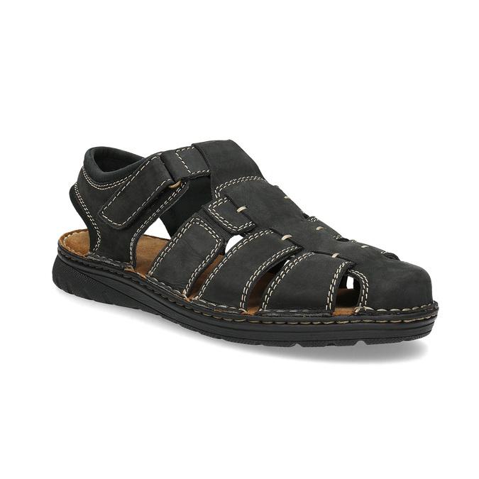 Czarne skórzane sandały męskie zpełnymi noskami bata, czarny, 866-6616 - 13