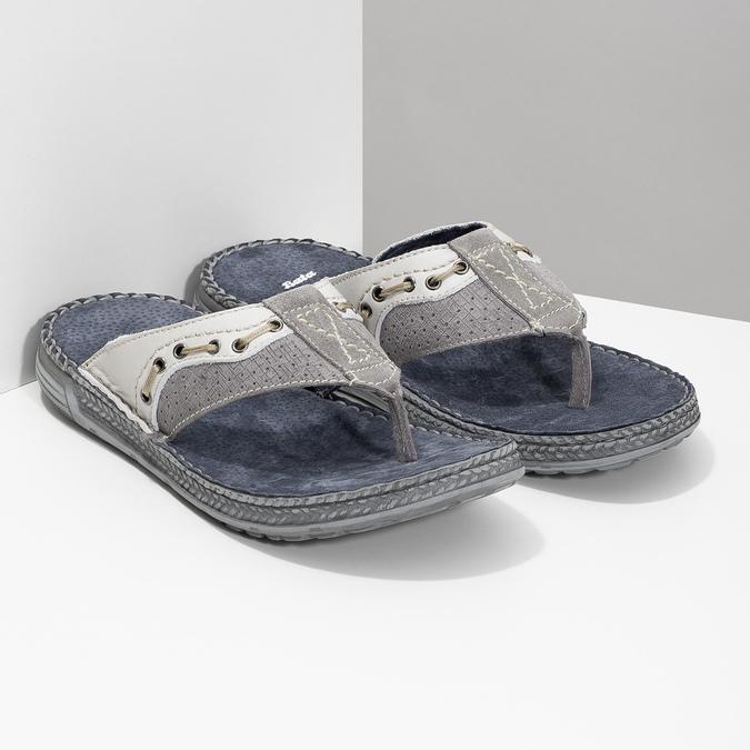 Skórzane japonki męskie ze zdobieniami bata, szary, 866-2845 - 26