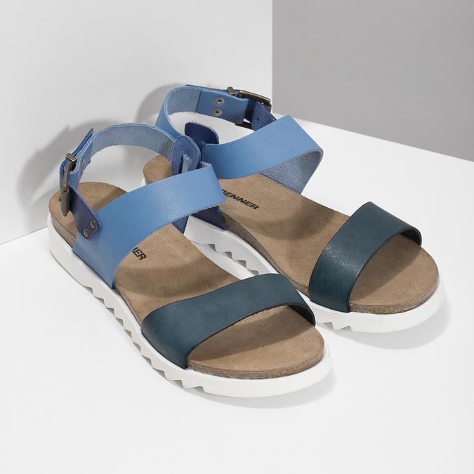 Niebieskie skórzane sandały damskie weinbrenner, niebieski, 566-9643 - 26