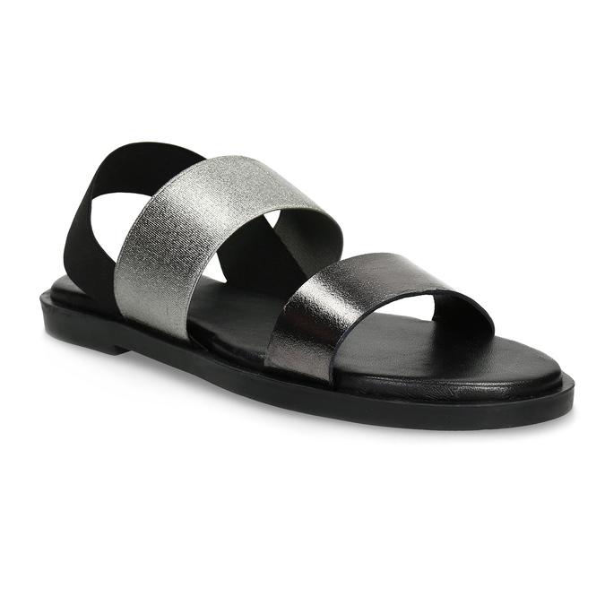 Czarno-srebrne skórzane sandały damskie bata, czarny, 566-6638 - 13