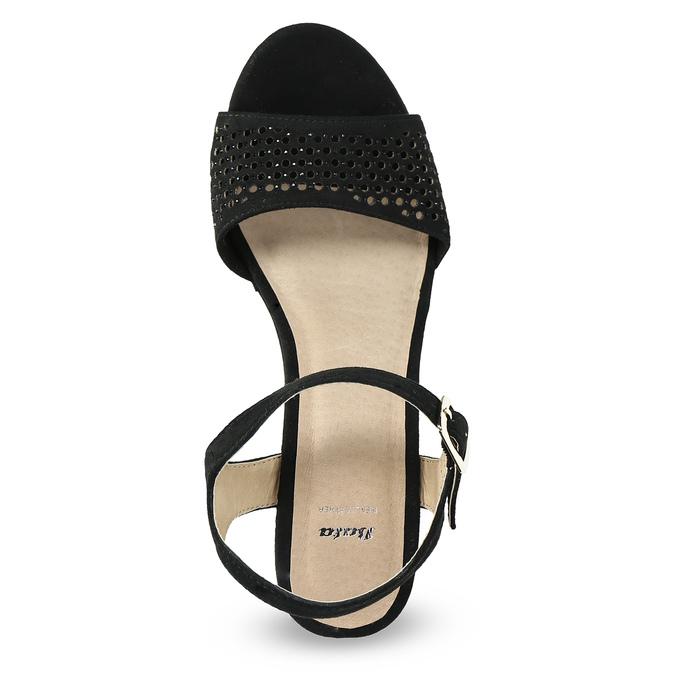 Czarne sandały na grubych obcasach, zkryształkami insolia, czarny, 669-6624 - 17