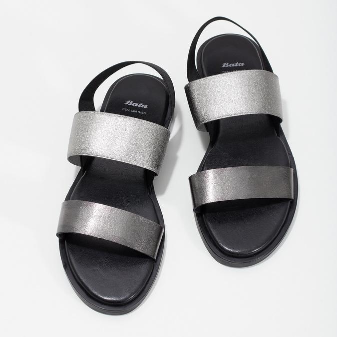 Czarno-srebrne skórzane sandały damskie bata, czarny, 566-6638 - 16