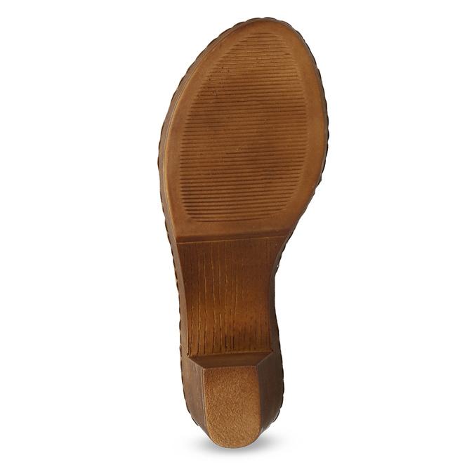 Brązowe skórzane sandały na drewnianych obcasach comfit, brązowy, 666-4624 - 18