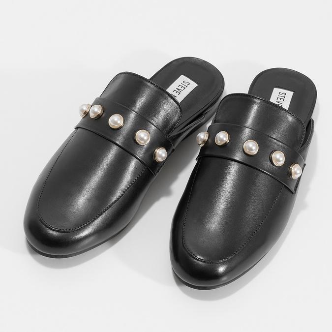 Skórzane mokasyny bez pięty, zperełkami steve-madden, czarny, 514-6072 - 16