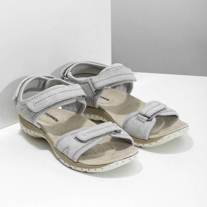 Skórzane sandały damskie na rzepy weinbrenner, szary, 566-2608 - 26