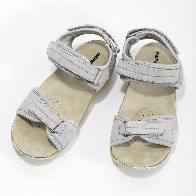 Skórzane sandały damskie na rzepy weinbrenner, szary, 566-2608 - 16