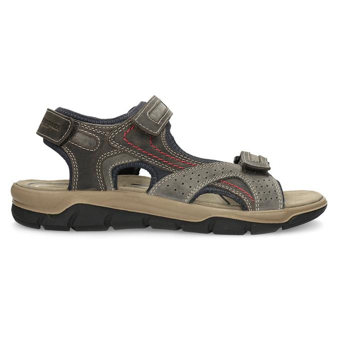 Brązowe skórzane sandały na rzepy weinbrenner, brązowy, 866-4642 - 19