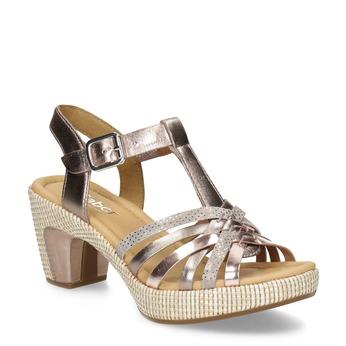 Skórzane sandały wkolorze różowego złota gabor, różowy, 766-8378 - 13