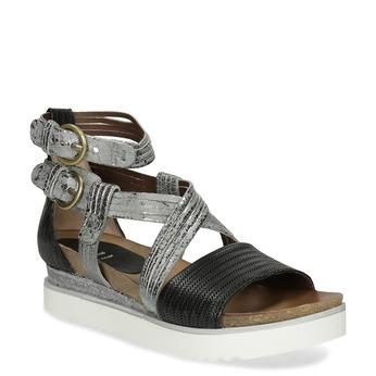 Srebrno-czarne skórzane sandały na platformie bata, czarny, 666-6605 - 13