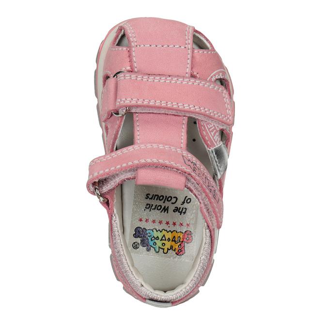 Skórzane sandały dziewczęce znadrukiem mini-b, różowy, 166-5604 - 17