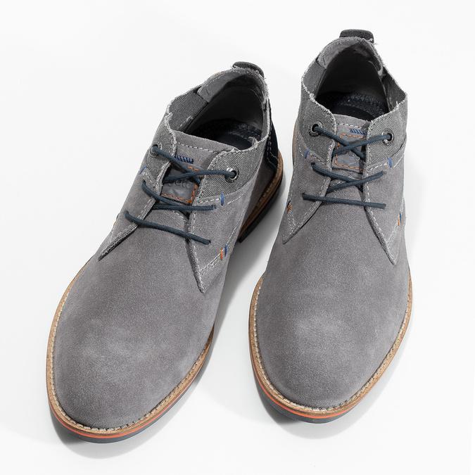 Szare zamszowe buty wstylu chukka bugatti, szary, 823-2015 - 16