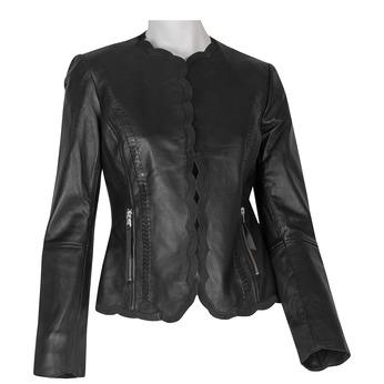 Czarny skórzany żakiet damski bata, czarny, 974-6179 - 13