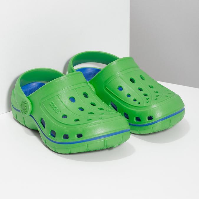 Zielone sandały dziecięce wstylu chodaków coqui, zielony, 372-7656 - 26