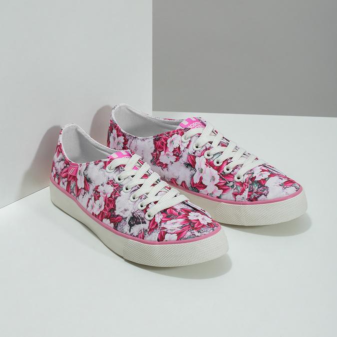 Różowe trampki wkwiecisty deseń north-star, różowy, 589-5460 - 26