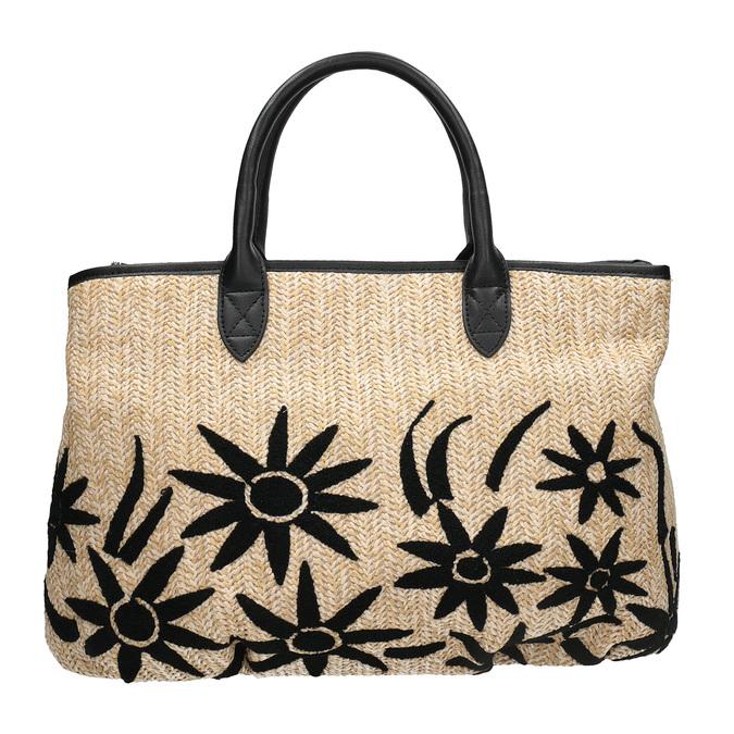 Czarna wyplatana torebka onaturalnej stylistyce bata, czarny, 969-6680 - 26