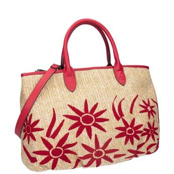 Czerwona wyplatana torebka onaturalnej stylistyce bata, czerwony, 969-5680 - 13