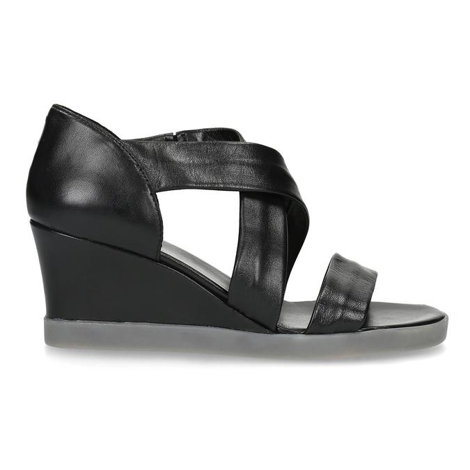 Czarne skórzane sandały na koturnach flexible, czarny, 664-6618 - 19