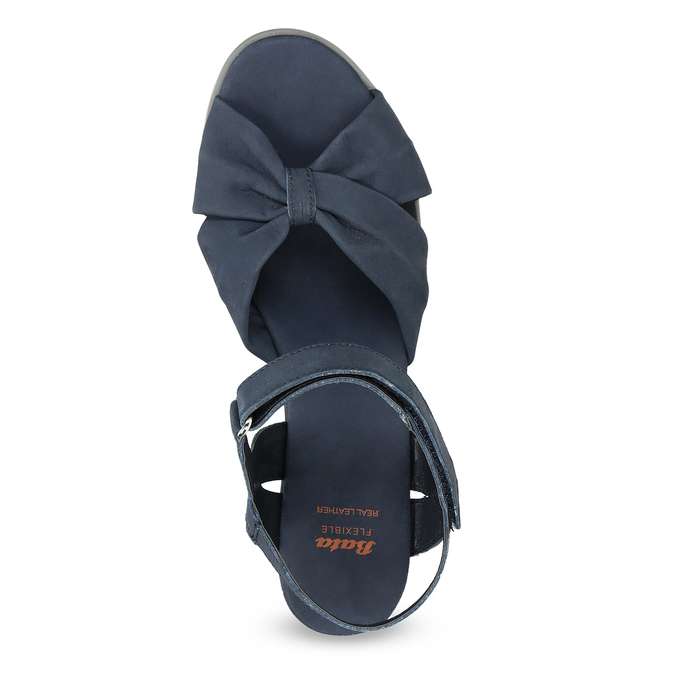 Granatowe skórzane sandały na koturnach flexible, niebieski, 666-9617 - 17