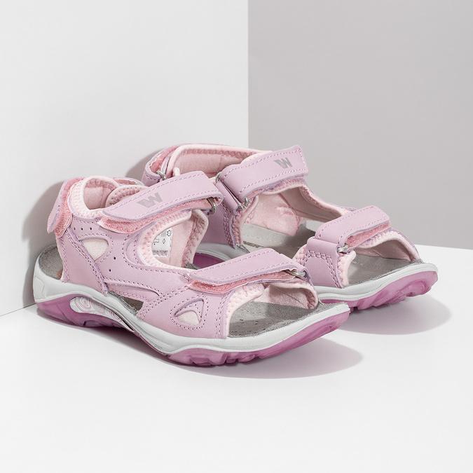 Skórzane sandały dziewczęce wstylu outdoor weinbrenner, różowy, 366-5606 - 26