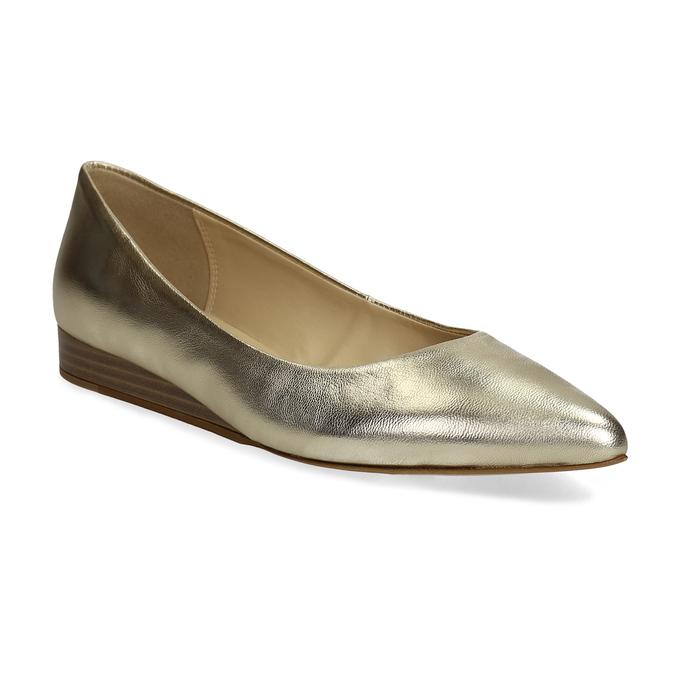 Złote skórzane baleriny wszpic bata, 526-8242 - 13