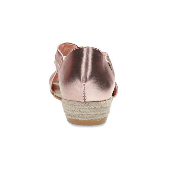 Sandały damskie na koturnach wkolorze różowego złota bata, brąz, 566-5649 - 15