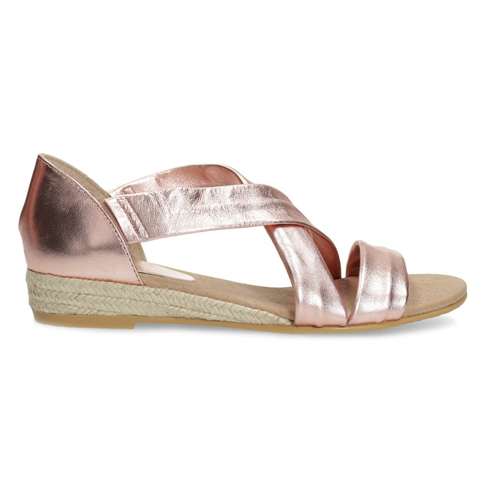 Sandały damskie na koturnach wkolorze różowego złota bata, brąz, 566-5649 - 19