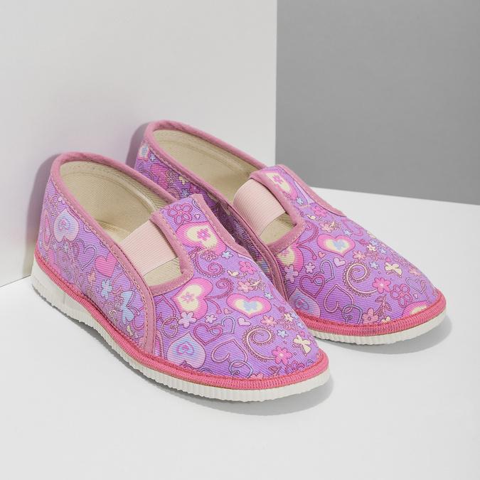 Różowe wzorzyste kapcie dziecięce bata, różowy, 379-5218 - 26