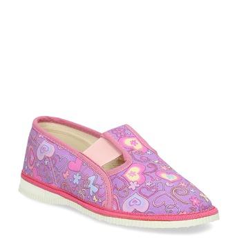 Różowe wzorzyste kapcie dziecięce bata, różowy, 279-5129 - 13