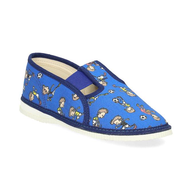 Granatowe wzorzyste kapcie dziecięce bata, niebieski, 179-9213 - 13