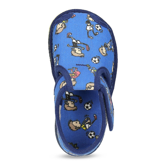 Granatowe wzorzyste kapcie dziecięce za kostkę bata, niebieski, 179-9212 - 17