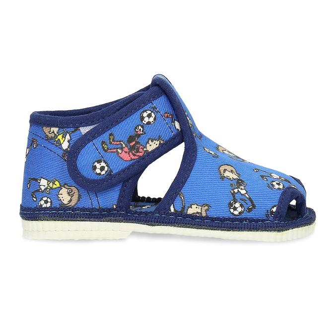 Granatowe wzorzyste kapcie dziecięce za kostkę bata, niebieski, 179-9212 - 19