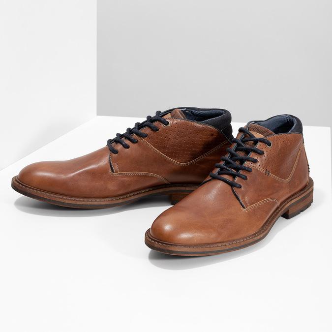 Brązowe skórzane obuwie męskie za kostkę bata, brązowy, 826-3505 - 16