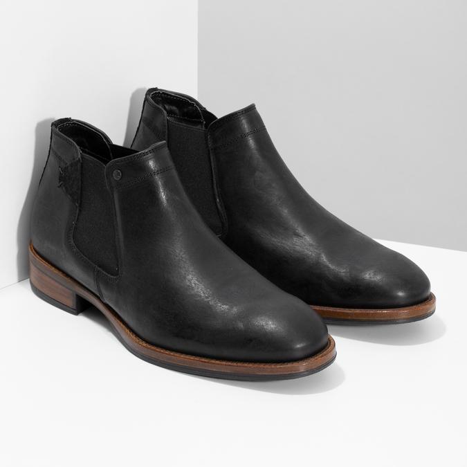 Męskie sztyblety z czarnej skóry bata, czarny, 826-6504 - 26