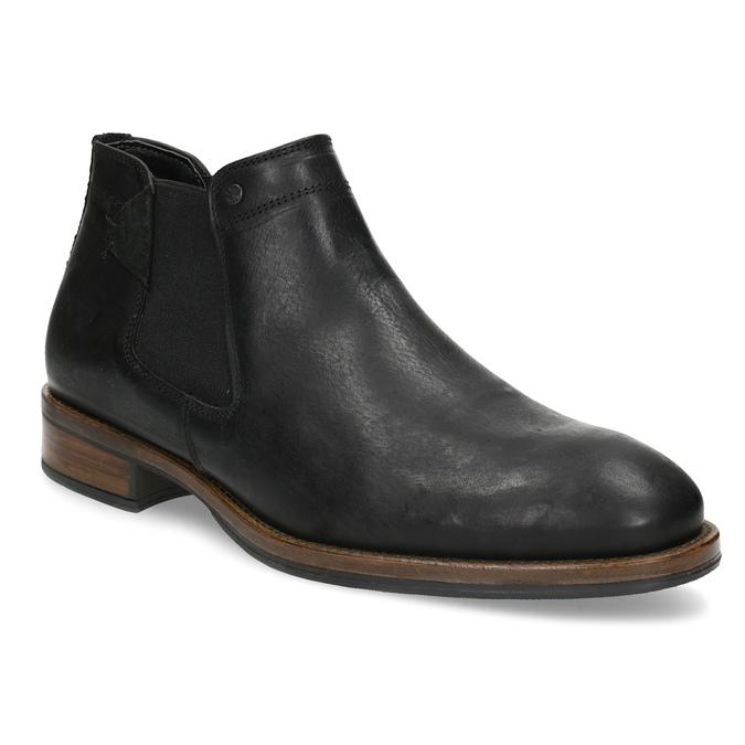 Męskie sztyblety z czarnej skóry bata, czarny, 826-6504 - 13