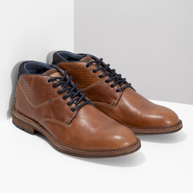 Brązowe skórzane obuwie męskie za kostkę bata, brązowy, 826-3505 - 26