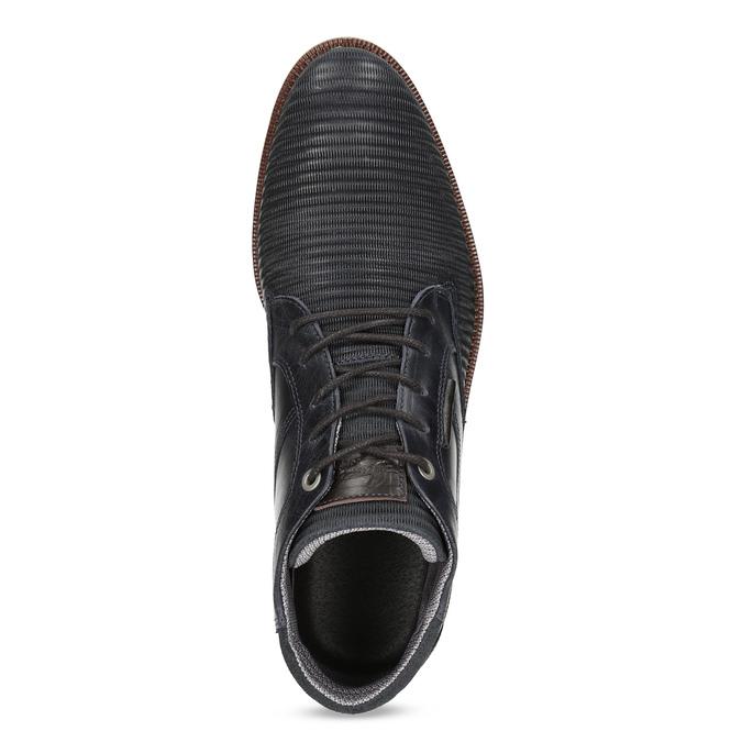 Granatowe skórzane obuwie męskie za kostkę bata, niebieski, 826-9912 - 17