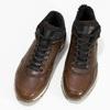 Brązowe skórzane trampki męskie zociepliną bata, brązowy, 846-4646 - 16