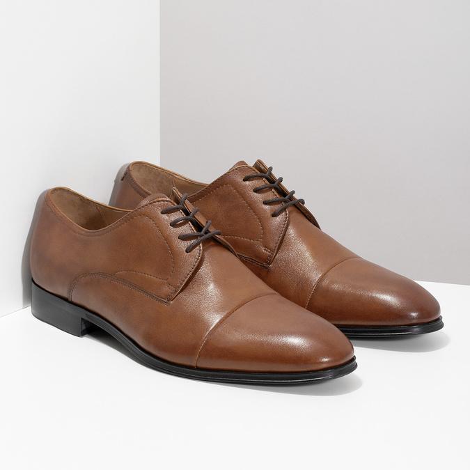 Brązowe skórzane półbuty męskie bata, brązowy, 826-3406 - 26