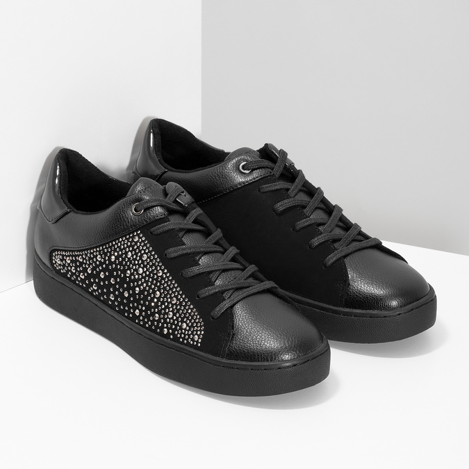 Czarne damskie tenisówki z ćwiekami, czarny, 549-6611 - 26